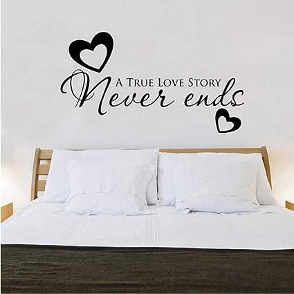 Big True Love Never End Heart Quote Wall Sticker Camera da letto Fai ...