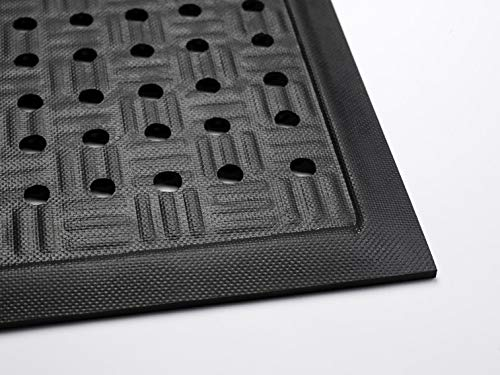 Cushion Station | Commercial-Grade Drainable Anti-Fatigue Mat - Slip Resistant, Antimicrobial, Grease and Oil Proof, Chemical Resistant, Welding Safe (Black 2' x 3.2') Anti Fatigue Grease Resistant Mat