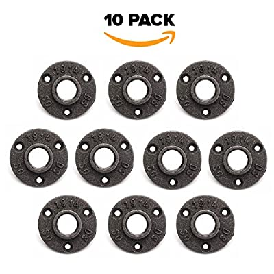 "10 Pack 3/4"" Floor Flange Cast Iron Black Pipe Floor Threaded Pipe Fitting Industrial Steampunk Vintage Retro Decor Furniture DIY Wall Industrial Plumbing by Brooklyn Pipe"