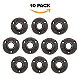 #2: 10 Pack 1/2 Floor Flange Pipe Decor Cast Iron Black Pipe Floor Threaded Pipe Fitting Industrial Steampunk Vintage Retro Decor Furniture DIY Wall Industrial Plumbing by Brooklyn Pipe