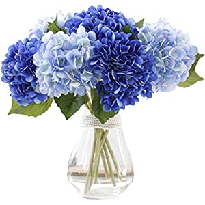 LNHOMY Artificial Silk Flowers French Fake Beautiful Hydrangea Bunch Bouquet Flower for Home Wedding Decor Pack of 4, Blue 10