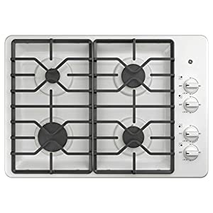 GE JGP3030DLWW 30 Inch Natural Gas Sealed Burner Style Cooktop with 4 Burners, ADA Compliant, in White