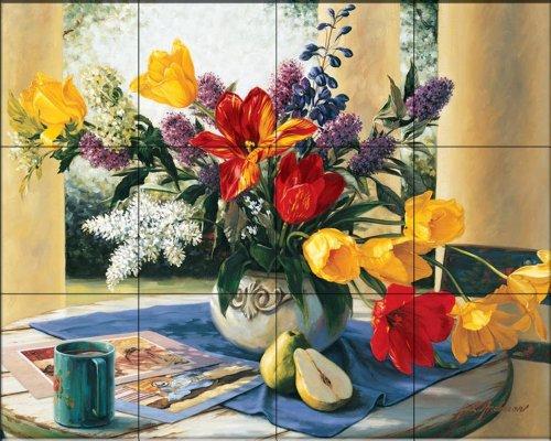 (Ceramic Tile Mural - Spring Bouquet 1 - by Robin Anderson - Kitchen backsplash/Bathroom shower)