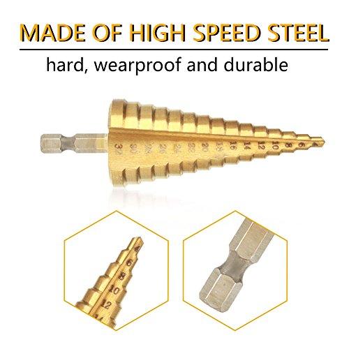 ステップドリルビット、1個の高速度鋼ステップコーンドリルビット穴カッター六角シャンクチタンメッキドリル、耐摩耗性と耐久性(4-32mm)