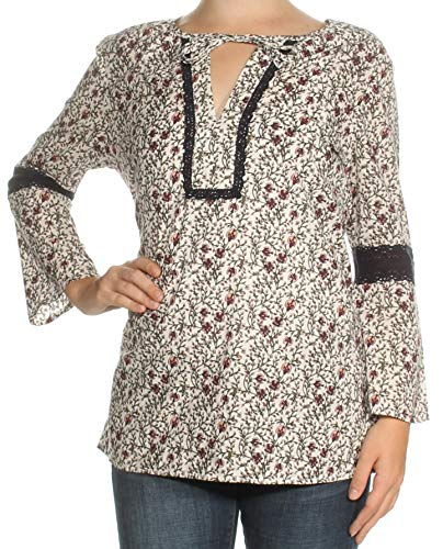 (Tommy Hilfiger Womens Lace Detail Bell Sleeve Blouse Ivory XS)