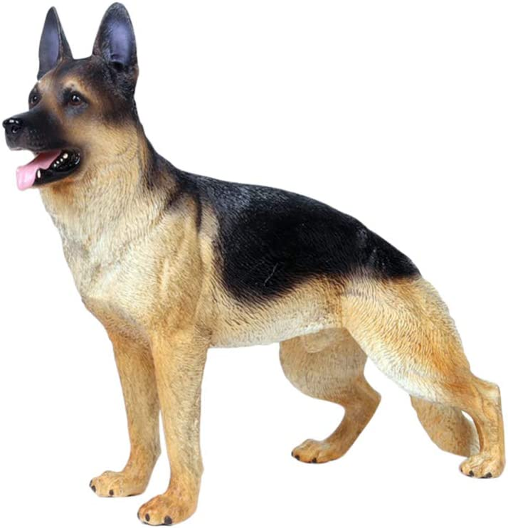 LIOOBO Artificial German Shepherd Dog Model Plastic Dog Figurine Micro Landscape Simulation Dog Craft Ornament for Home Office Decor