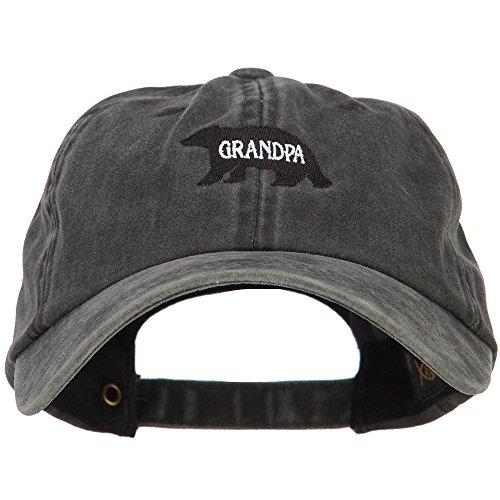 (Grandpa Bear Embroidered Washed Cotton Twill Cap - Black OSFM)