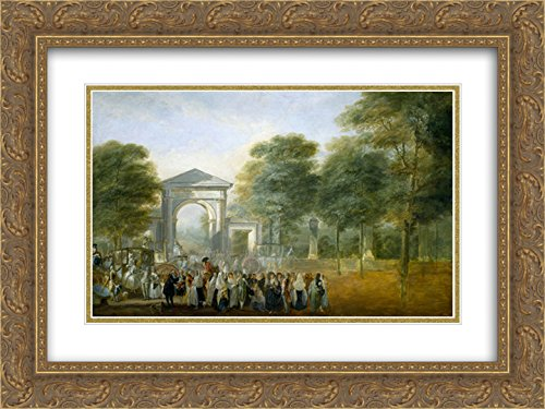 Luis Paret y Alcazar 2x Matted 24x20 Gold Ornate Framed Art Print 'The Botanical Garden of Paseo del - Paseo Gardens