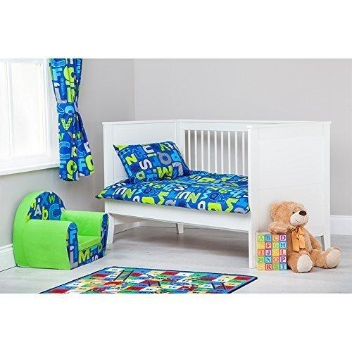 Ready Steady Bed Alphabet Design Children's Cot Size Duvet Cover Set 100cm x 120cm with Pillowcase