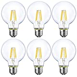 Energetic Lighting Dimmable LED Edison Light Bulb, G25 Globe, 60W Equivalent, 5000K Daylight, E26 Standard Base, UL Listed, 6-Pack