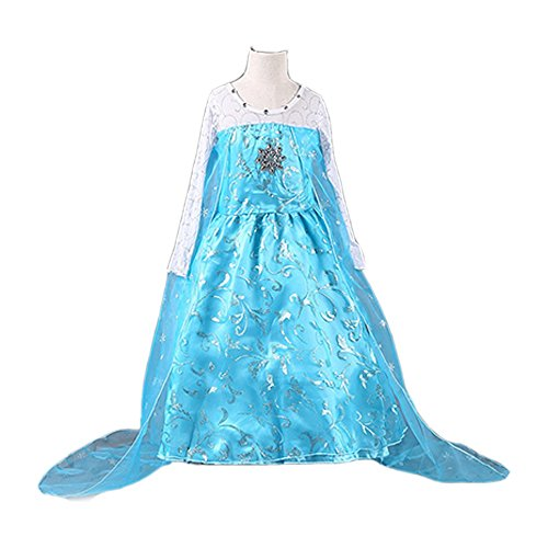 Daily Proposal FE11 Disney Frozen Inspired Lace Elsa Costume Dress Girl Cosplay Party 3T-12 (4-110cm) ()