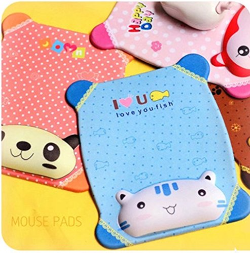 LinTimes New Cute Cartoon Silicone Slow Rebound Memory Wrist Rest Mouse Pad with Wrist Support for Computer Laptop Gel Comfort Hand Pillow Pad Blue Cat