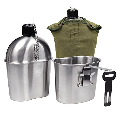 Goetland Stainless Steel WWII US Military Canteen Kit 1QT with 0.5QT Cup Nylon Cover G.I. (Nesting Drinking Cups)