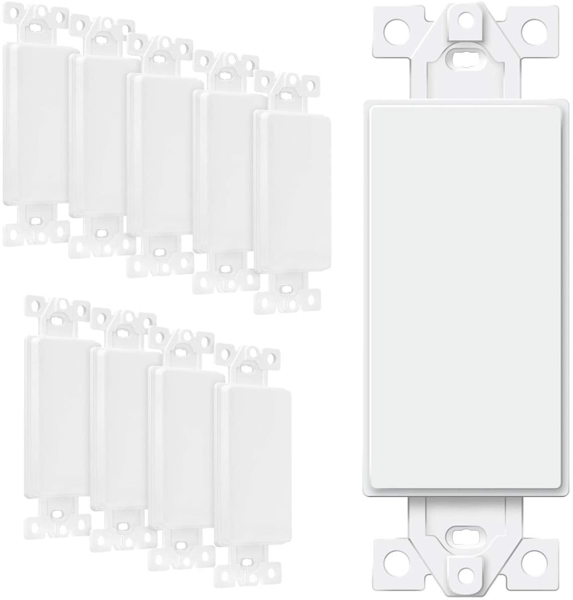ENERLITES Blank Adapter Insert for Decorator Wall Plates, Unbreakable Polycarbonate Thermoplastic, UL Listed, 6001-W-10PCS, White, 10 Piece