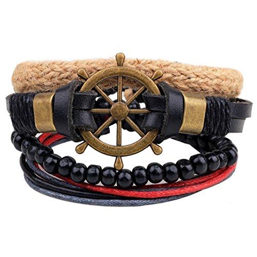 Prettychic 4pcs/set Unisex Braided Leather Bracelets Cuff Punk Bangle Wristband