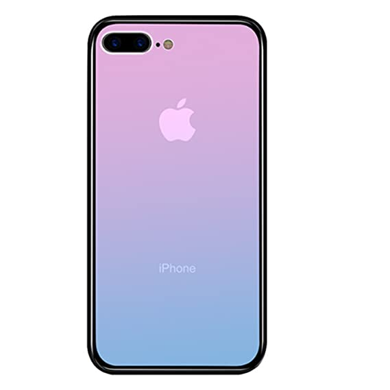 new style 028ec 04545 iPhone 8 Plus Case, Luoming Gradual Colorful Gradient Change Color Tempered  Glass Case Soft TPU Bumper Shock Absorption Phone Cover Case for Apple ...