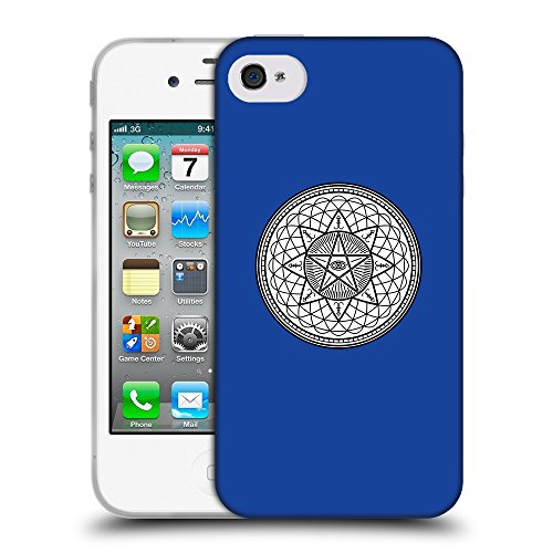 GoGoMobile Coque de Protection TPU Silicone Case pour // Q09710613 Mystique occulte 20 Bleu // Apple iPhone 4 4S 4G