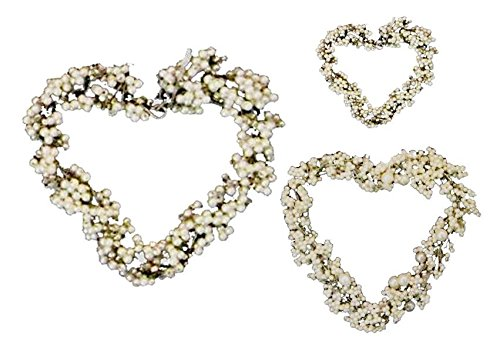 Golden Hill Studio White Pearl Beaded Heart (Set of (Beaded Heart Ornament)