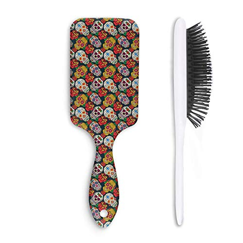 Mexican skull with flowers Hair Comb or Brush -Detangling Hair Brush on the go black comb and brush ()