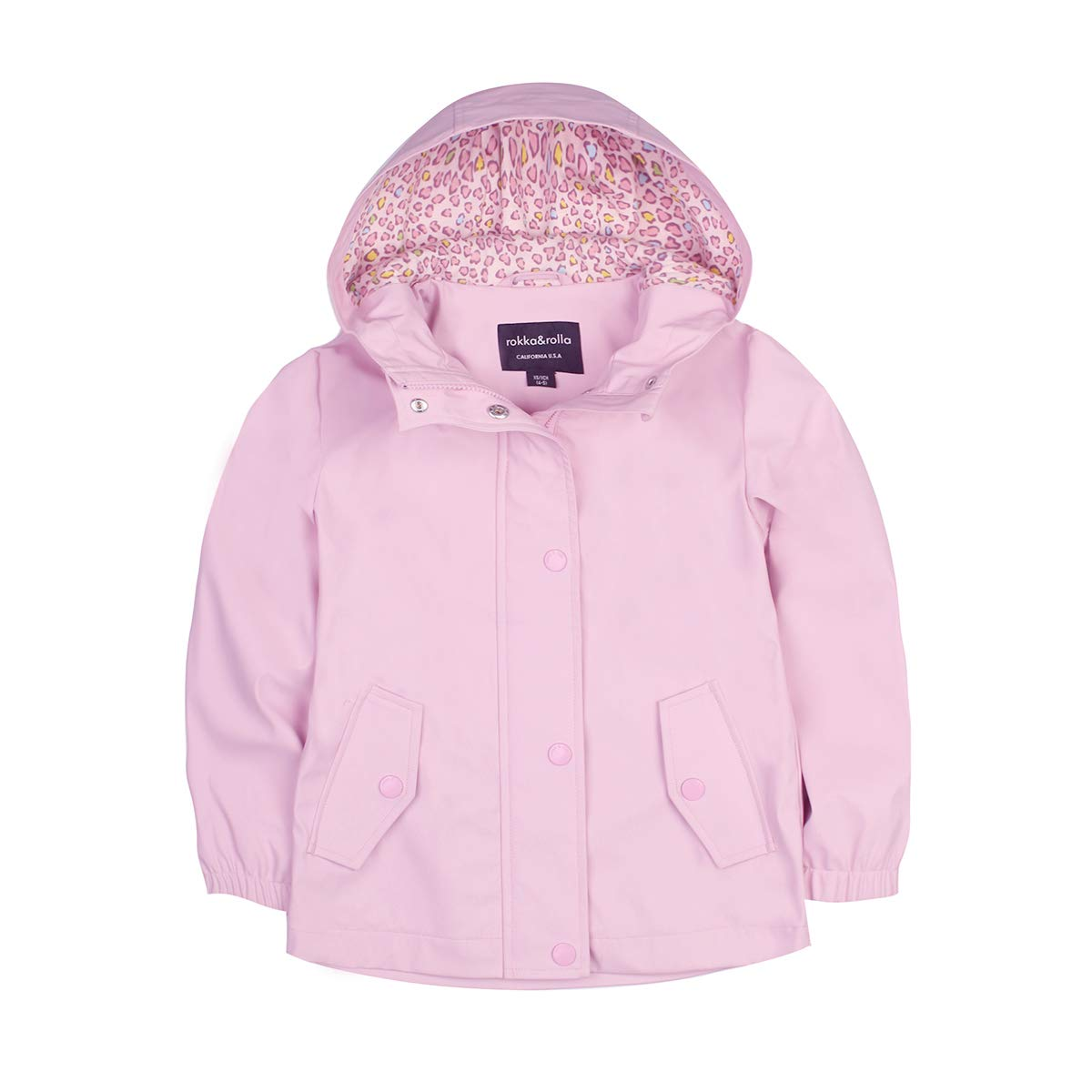 Rokka&Rolla Girls' Lightweight Waterproof Hooded Rubberized Rain Jacket Raincoat Windbreaker Seashell Pink by Rokka&Rolla