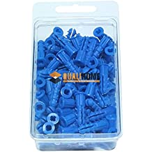 "Premium Quality Blue Ribbed Plastic Anchors, 100 Pack (#10-12 x 1"")"