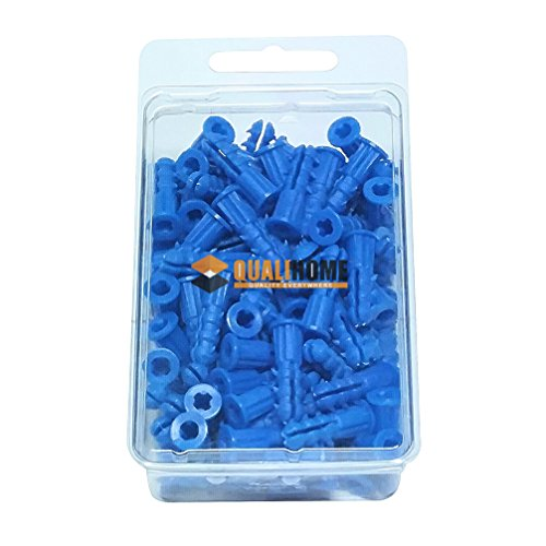 Premium Quality Blue Ribbed Plastic Anchors, 100 Pack (#10-12 x 1