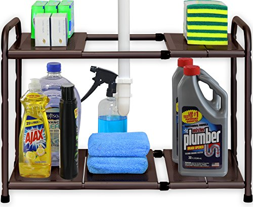 (Simple Houseware Under Sink 2 Tier Expandable Shelf Organizer Rack, Bronze (Expand from 15 to 25 inches))