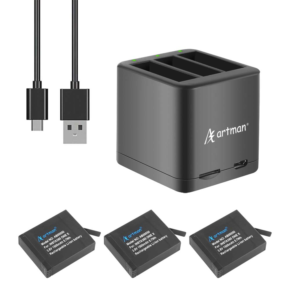 Artman Insta360 ONE X Camera 1500mAh Replacement Battery(3-Pack) and A Triple Slot USB Charger with Built-in TF Memory Card Reader for Insta360 ONE X Camera by A Artman