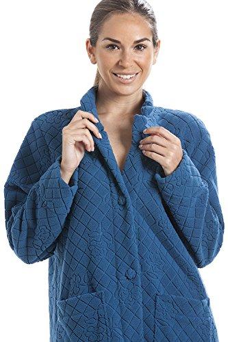 Bata para estar por casa - Con botones - Forro polar suave - Azul Azul