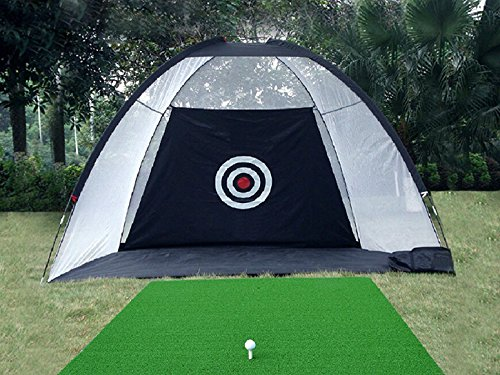 77tech 10' Golf Practice Hittting Net Cage System Tri-ball Driving Netting Training Aid with Target (Black ()