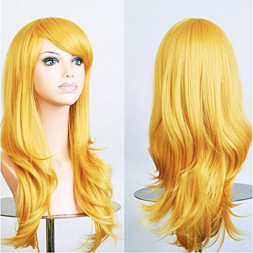 Curly-Cosplay-Synthetic-Wig-Yellow-Japanese-Kanekalon-Heat-Resistant-Fiber-Full-Wig-with-Bangs-Long-Layered-Wavy-Vogue-23-58cm-for-Women-Girls-Lady-Fashion-and-Beauty
