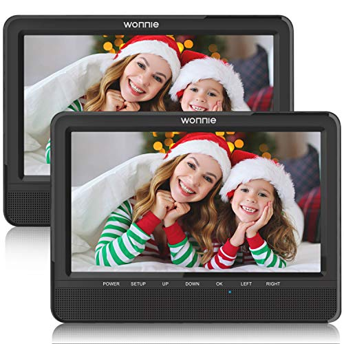 WONNIE 9.5'' Dual Car DVD Player Portable Headrest CD Players for Kids, Built-in 5 Hours Rechargeable Battery Great for Family Travel ( 1 Player+1 Monitor ) (Cd Dvd Players)