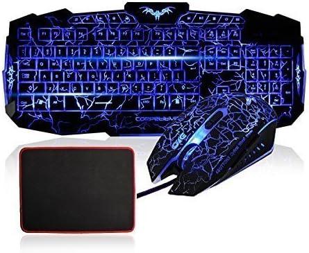 Teclado y ratón Gaming Set - MFTEK USB LED con conexión de ...