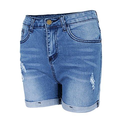 Con Baoblaze A Blu Per Jeans Orlo Alta In Donna Di Strappati Vita Denim Pantaloncini RYxRrT