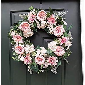 """ES ESSENTIALS Pink Cabbage Rose Dahlia Hydrangea Wreath Spring Summer 24"""" 112"""