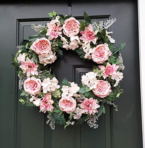 ES ESSENTIALS Pink Cabbage Rose Dahlia Hydrangea Wreath Spring Summer 24