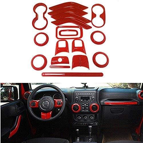 Red Opall 18PCS Full Set Interior Decoration Trim Kit Steering Wheel /& Center Console Air Outlet Trim Door Handle Cover Inner For Jeep Wrangler JK JKU 2011-2018 2 Door /&4 Door