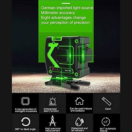 3D Nivel de burbuja l/áser con base magn/ética 360 l/íneas de l/áser verdes horizontales y verticales autoalineadas nivel de burbuja l/áser de nivelaci/ón autom/ática bater/ía incluida Verde