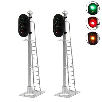 Swell Amazon Com Jtd433Gyr 2Pcs Model Railroad Train Signals 2 Lights Wiring Database Brom4X4Andersnl