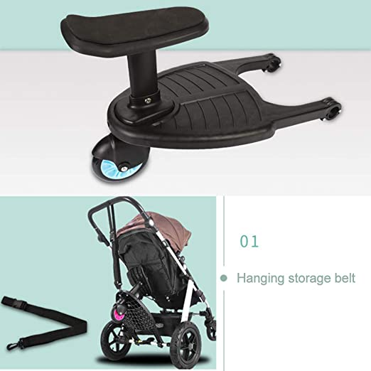 Buggy Board with Seat Standing Board for Buggy Pram Pushchair Buggy Standing Board Seat Connectors Seat Removable and Assembling Baby Stroller Auxiliary Peadal