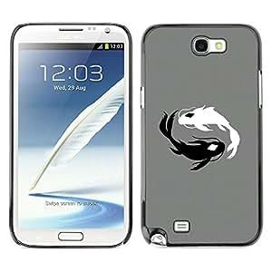 KLONGSHOP // Cubierta de piel con cierre a presión Shell trasero duro de goma Protección Caso - Negro y blanco Koi Fish - Samsung Note 2 N7100 //