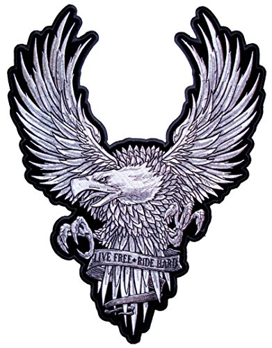 Ride Eagle (Leather Supreme Live Free Ride Hard Silver American Bald Eagle Biker Patch-Silver-Large)