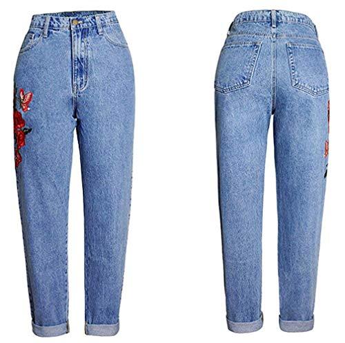 Mujeres Estiramiento Casual Jeans Colour De Haidean Azul 3d Mezclilla Bordado Vaqueros Alta Las Rectos Modernas Cintura Pantalones Elásticos Slim Denim xHqSXyYSg