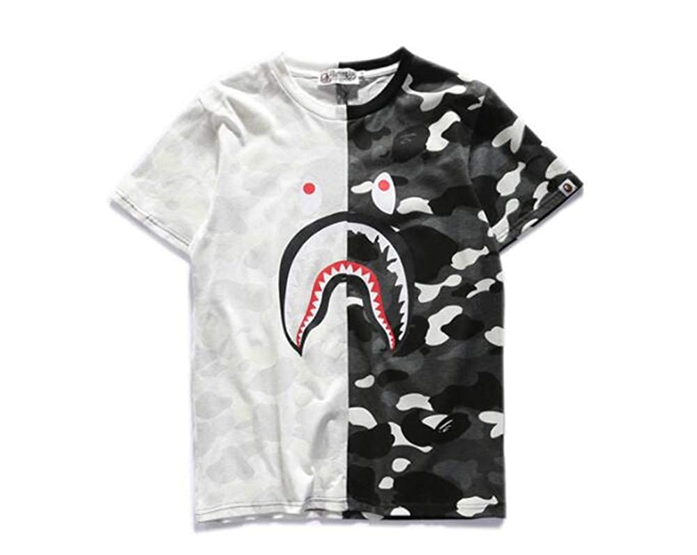 7b418c3ba Fashion Shark Stitching Bape Camouflage Cotton Short Sleeve T-Shirt for  Men/Women | Amazon.com