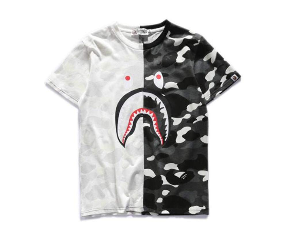Fashion Shark Stitching Black and White Bape Camouflage Cotton Short Sleeve T-Shirt for Men/Women