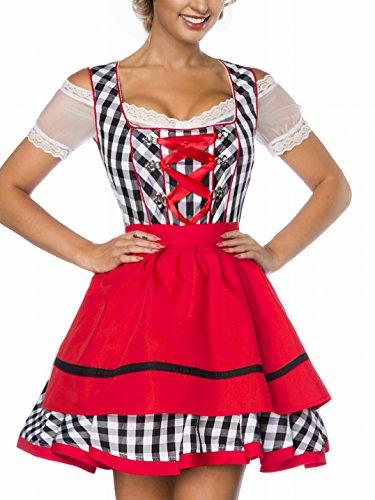 Dirndl Kleid Kostüm mit Schürze Minidirndl mit Karomuster und ausgestelltem Rockteil Oktoberfest Dirndl schwarz/weiß/rot L
