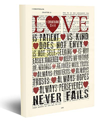 Love Is Patient, Love Is Kind - 1 Corinthians 13:4-8 Vintage Bible Page Verse Scripture - Christian Wrapped Canvas, Wedding Anniversary Engagement Christian Wall and Home Decor, All Sizes