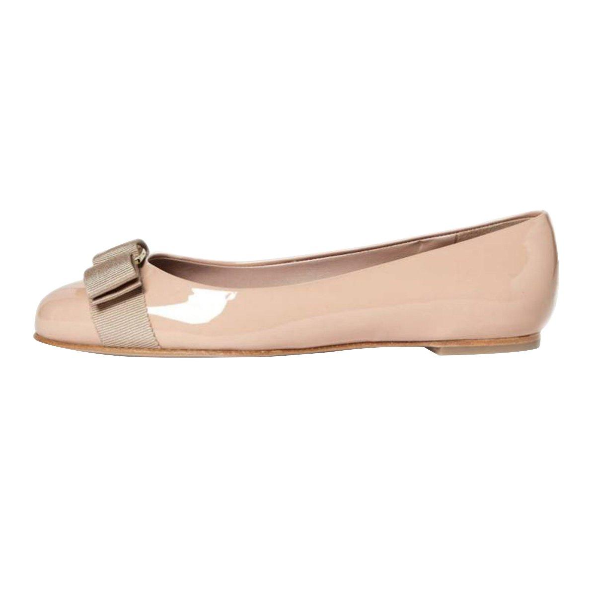 FSJ Women Cute Bowknot Round Toe Comfort Ballet Flats Casual Slip On Ballerina Dress Shoes Size 4-15 US