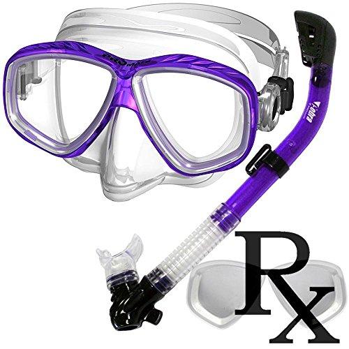 Island Dry Snorkel - Prescription Purge Mask Dry Snorkel Snorkeling Scuba Diving Combo Set, Purple