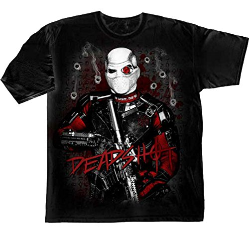 Suicide Squad Deadshot Bullet Holes Men's Black Shirt